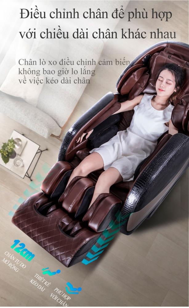 Queen Crown QC CX7 sở hữu hệ thống nâng chân cực kì tiện dụng