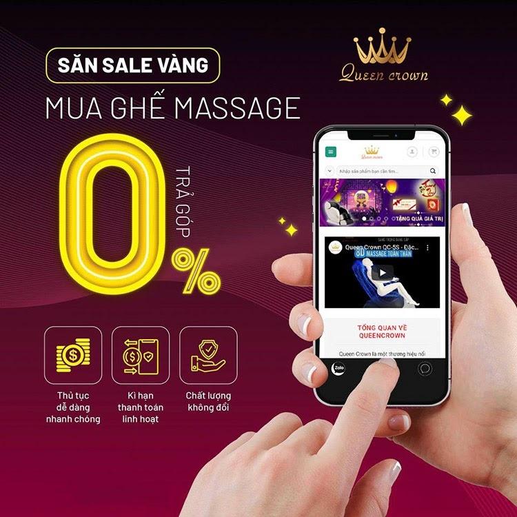 Ghe Massage Queen Crown Smart A8 Duoc Ban Tra Gop Lai Suat 0%