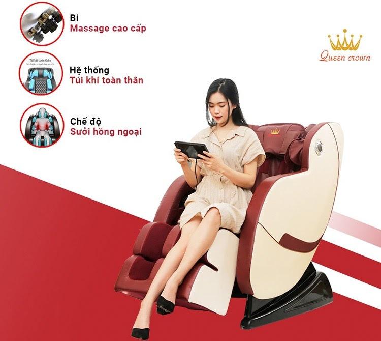 Mua ghế massage Queen Crown Qc T19 thay ghế massage dưới 5 triệu